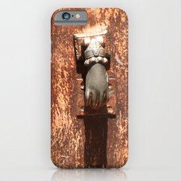 Antique wooden door with hand knockers iPhone Case