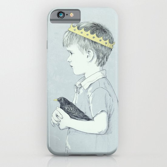 Boy and bird blue iPhone & iPod Case