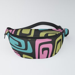 Mid Century Modern Cosmic Abstract 734 Black Pink Green and Blue Fanny Pack