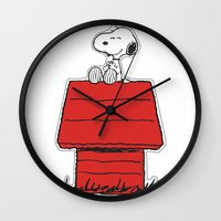 snoopy Wall Clocks featuring Snoopy by Simple Touch Apparel
