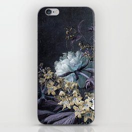 Taupe Turquoise Text Classic Floral iPhone Skin