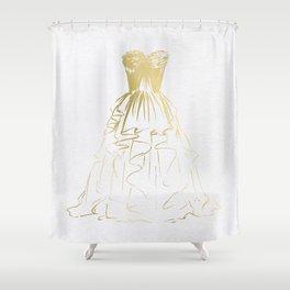Little Gold Ball Gown Dress Shower Curtain