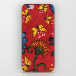 Batik butterflies and flowers on red iPhone Skin