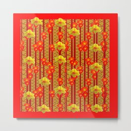 Red Oriental Style Poppies & Daffodils Pattern Metal Print