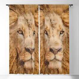 Lion watercolor painting #2 Blackout Curtain