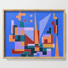 Modern City view in abstract geometric shapes Serving Tray