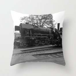 Old steam locomotive in the depot ZUG007CBx Le France black and white fine art photography by Ksavera Throw Pillow
