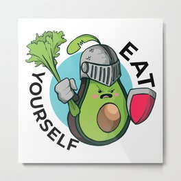 Avocado in armor - eat yourself Metal Print