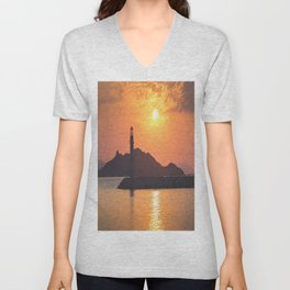 Lighthouse Evening Art Unisex V-Neck