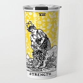 Floral Tarot Print - Strength Travel Mug