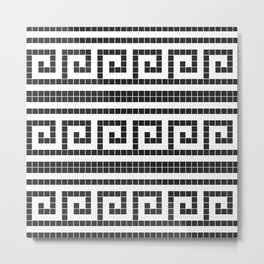 Black & white modern greek elements tiles pattern Metal Print
