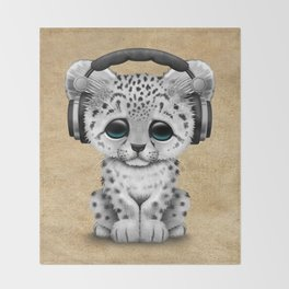 Cute Snow leopard Cub Dj Wearing Headphones Throw Blanket