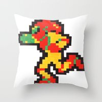 samus Throw Pillows featuring samus by Walter Melon
