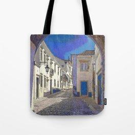 Digital treatment of the arco da vila, Faro, the Algarve, Portugal Tote Bag