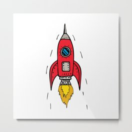 Vintage Rocket Ship Blasting Off Drawing Metal Print