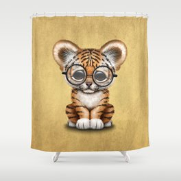 Cute Baby Tiger Cub Wearing Eye Glasses on Yellow Shower Curtain