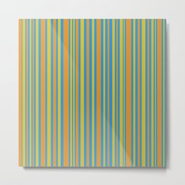 Vertical Stripes Retro Pattern in Mustard Yellows and Bright Blue Metal Print