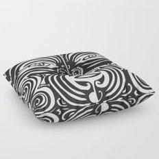 Maori Moko | Tribal Tattoo | New Zealand | Black and White Floor Pillow
