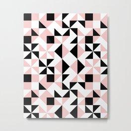 Eva - rose quartz quilt squares hipster retro geometric minimal abstract pattern print black pink Metal Print
