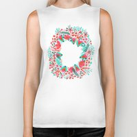 waldo Biker Tanks featuring The Earth Laughs in Flowers – Pink & Charcoal by Cat Coquillette