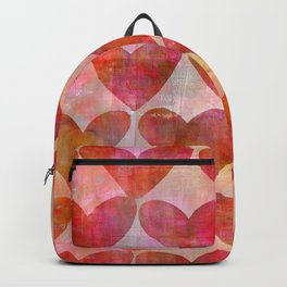 red Hearts mixed media pattern Backpack