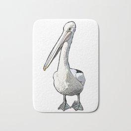 It's a Pelican Life - Pelican Photograph transformed  in Cartoon Graphic Bath Mat