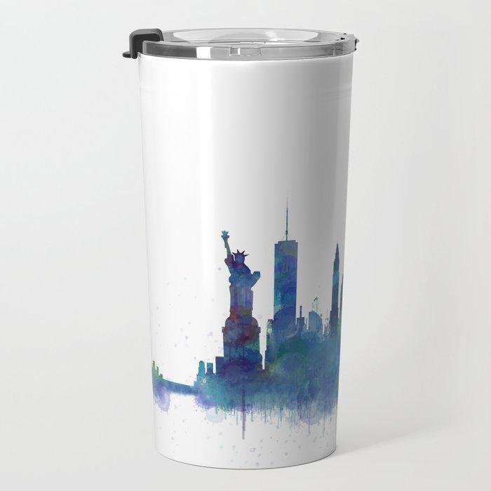 NY New York City Skyline NYC Watercolor art Travel Mug