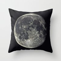 the moon Throw Pillows featuring Moon by Pete Baker