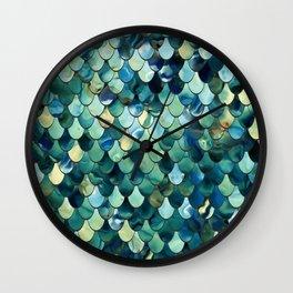 Mermaid Sea Green, Ocean Blue Wall Clock