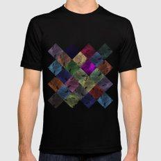 Colorful geometric patterns II  MEDIUM Black Mens Fitted Tee