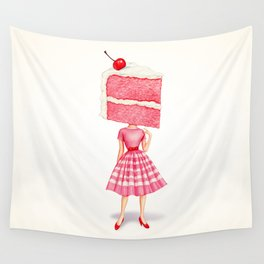 Cake Head Pin-Up - Cherry Wall Tapestry