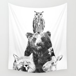 Black and White Woodland Animals Wall Tapestry