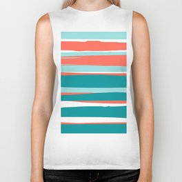 Striped California Seascape, Living Coral, Teal Biker Tank