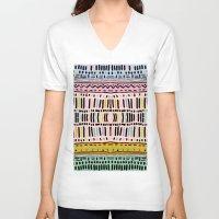 navajo V-neck T-shirts featuring NAVAJO MOTIF  by Vasare Nar