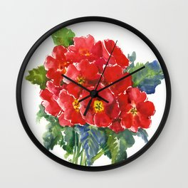 Red Flowers, Primula, red floral design Wall Clock