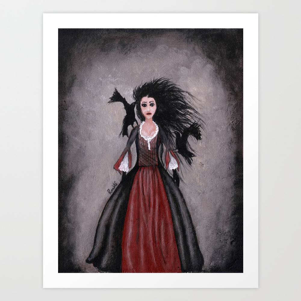 Little Black Haired Girl + Crows Art Print by Roublerust PRN905958