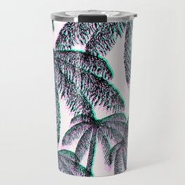 Tropical Palm Trees in Pink Teal Black Travel Mug