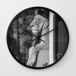 Relaxing on the bus 2 (b&w) Wall Clock