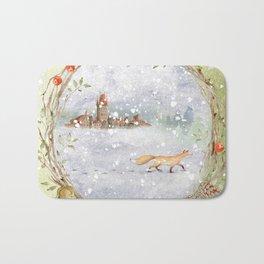 Christmas vintage fox Bath Mat