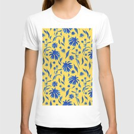 Elegant Blue Cone Flowers on Mustard Yellow T-shirt