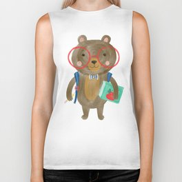 Back To School Bear Biker Tank
