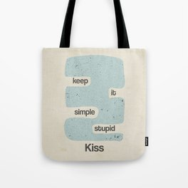 Kiss, keep it simple stupid  - Vintage Blue Tote Bag