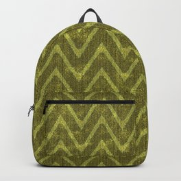Pale Moss Green Faux Suede Chevron Pattern Backpack