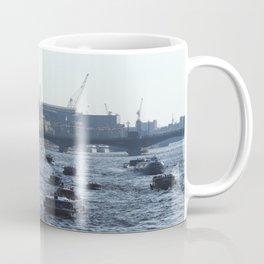 Huge water traffic on Neva River. Many passenger boats. Coffee Mug