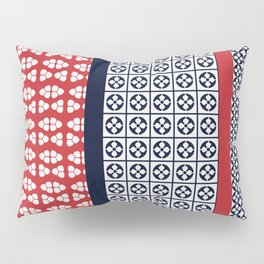 Japanese Style Ethnic Quilt Blue and Red Pillow Sham