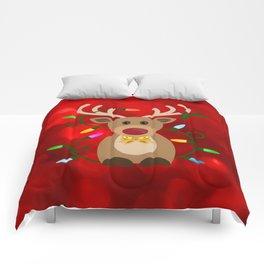 Christmas Reindeer in Lights Comforters