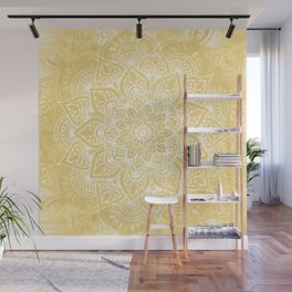 Mandala, Boho Summer, Yellow Flower of Life Wall Mural