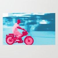 motorbike Area & Throw Rugs featuring Motorbike Guy by Sergio Silva Santos