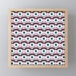 Cute Eyes Pattern on Pink Background Framed Mini Art Print