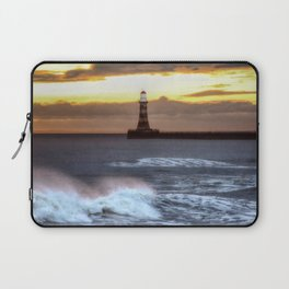Roker pier and lighthouse sunrise Laptop Sleeve